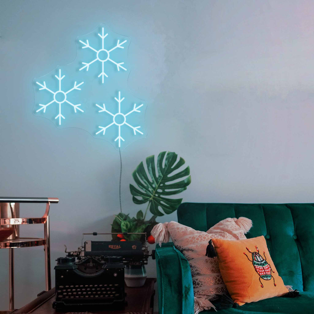"Snow Flakes The Neon Studio Large: W 89cm * H 100cm / 35"" 39"" Ice Blue Clear Acrylic - Shape of Design"