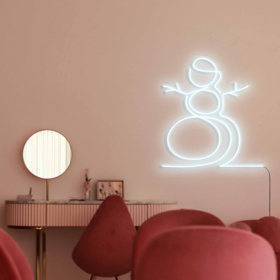 "Snowman The Neon Studio Large: W 107cm * H 115cm / 42"" 45"" Cool White Clear Acrylic - Shape of Design"