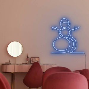 "Snowman The Neon Studio Large: W 107cm * H 115cm / 42"" 45"" Dark Blue Clear Acrylic - Shape of Design"