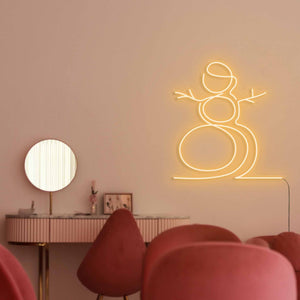 "Snowman The Neon Studio Large: W 107cm * H 115cm / 42"" 45"" Gold Yellow Clear Acrylic - Shape of Design"