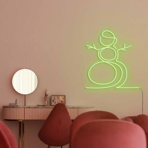 "Snowman The Neon Studio Large: W 107cm * H 115cm / 42"" 45"" Green Clear Acrylic - Shape of Design"