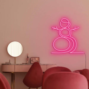 "Snowman The Neon Studio Large: W 107cm * H 115cm / 42"" 45"" Hot Pink Clear Acrylic - Shape of Design"