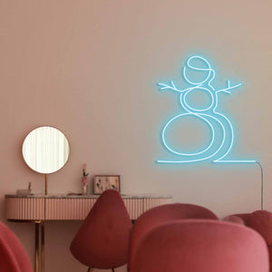 "Snowman The Neon Studio Large: W 107cm * H 115cm / 42"" 45"" Ice Blue Clear Acrylic - Shape of Design"