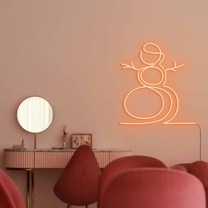 "Snowman The Neon Studio Large: W 107cm * H 115cm / 42"" 45"" Orange Clear Acrylic - Shape of Design"