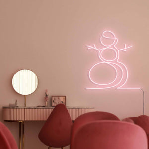 "Snowman The Neon Studio Large: W 107cm * H 115cm / 42"" 45"" Peach Pink Clear Acrylic - Shape of Design"