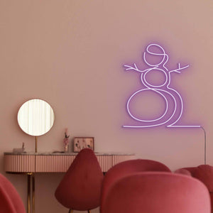 "Snowman The Neon Studio Large: W 107cm * H 115cm / 42"" 45"" Purple Clear Acrylic - Shape of Design"