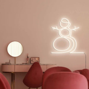 "Snowman The Neon Studio Large: W 107cm * H 115cm / 42"" 45"" Warm White Clear Acrylic - Shape of Design"