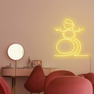 "Snowman The Neon Studio Large: W 107cm * H 115cm / 42"" 45"" Yellow Clear Acrylic - Shape of Design"