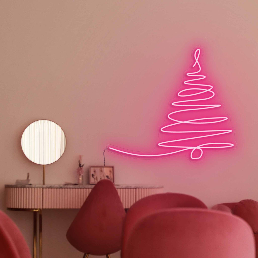 "Sparse Christmas Tree The Neon Studio Large: W 115cm * H 103cm / 45"" 41"" Hot Pink Clear Acrylic - Shape of Design"