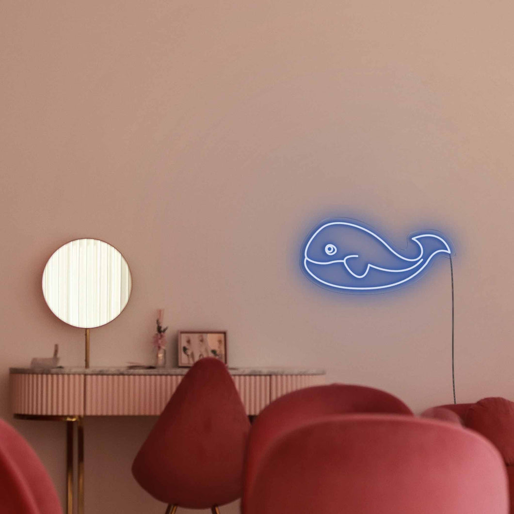 "Whale The Neon Studio Large: W 85cm * H 38cm / 33"" 15"" Dark Blue Clear Acrylic - Shape of Design"