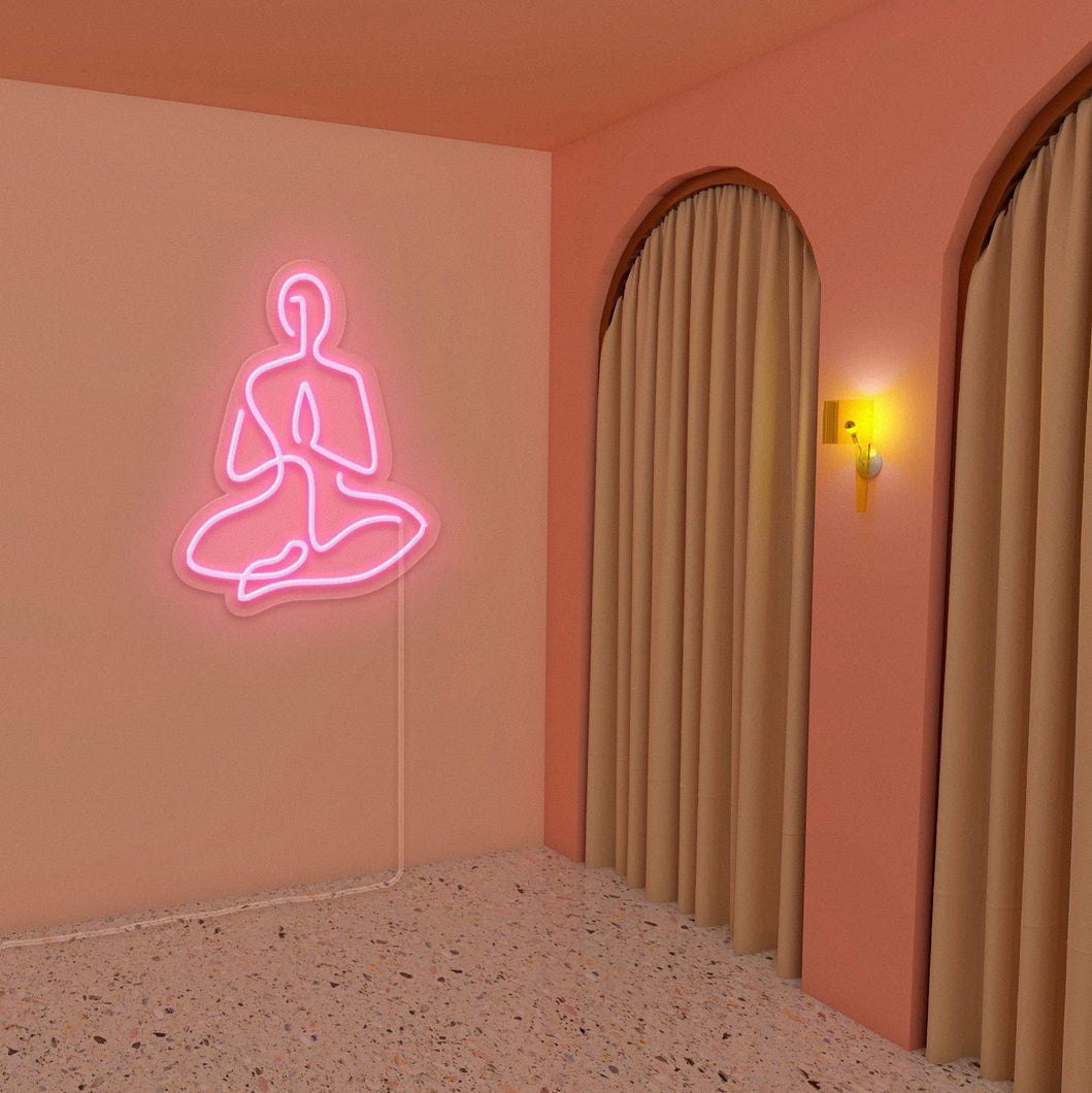 "Yoga Lotus The Neon Studio Medium: W 63cm * H 80cm / 25"" * 31"" Light (Peach Pink) Clear Acrylic - Shape of Design"