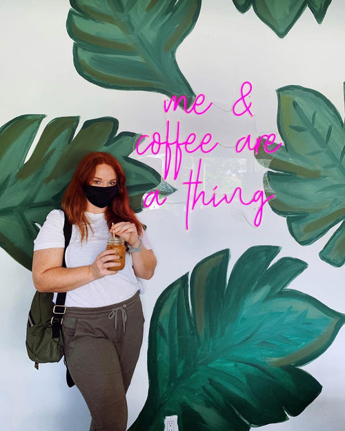 me & coffee are a thing Custom LED Neon Sign Coffee Shop Mural Business Sign