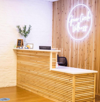 Green Circle Wellness Office Reception Receiving Area Business Logo Custom LED Neon Sign
