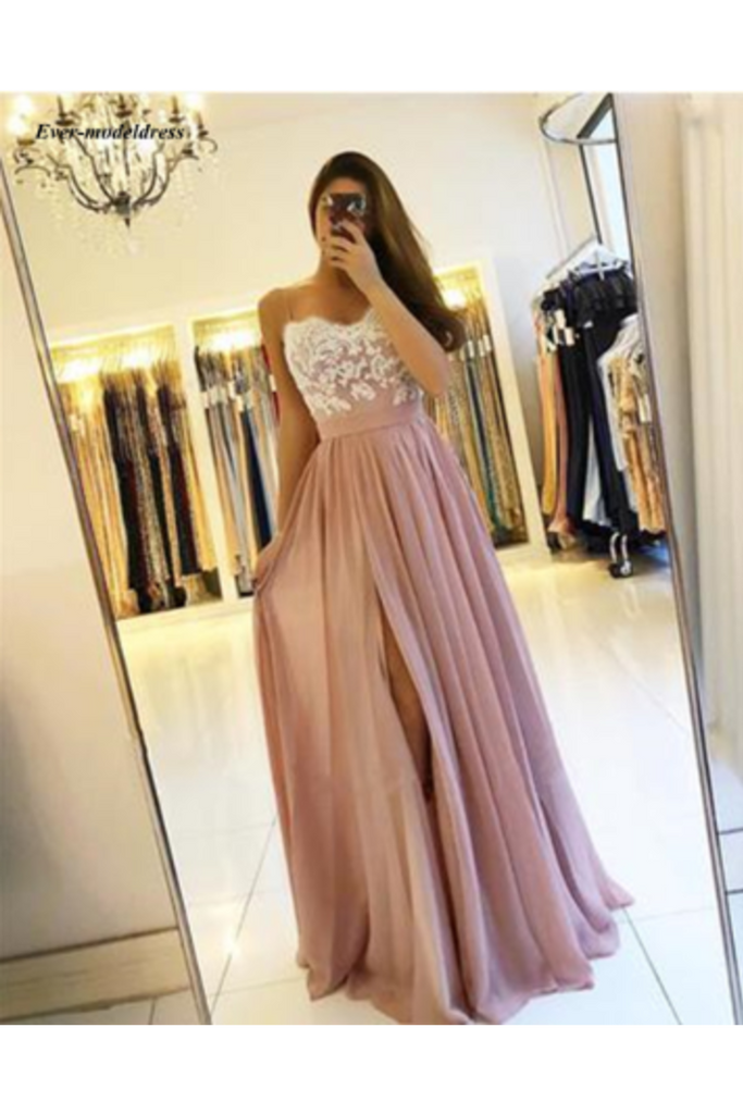 High Split Spaghetti A-Line Appliques Chiffon Prom Party STKPEP57HR2
