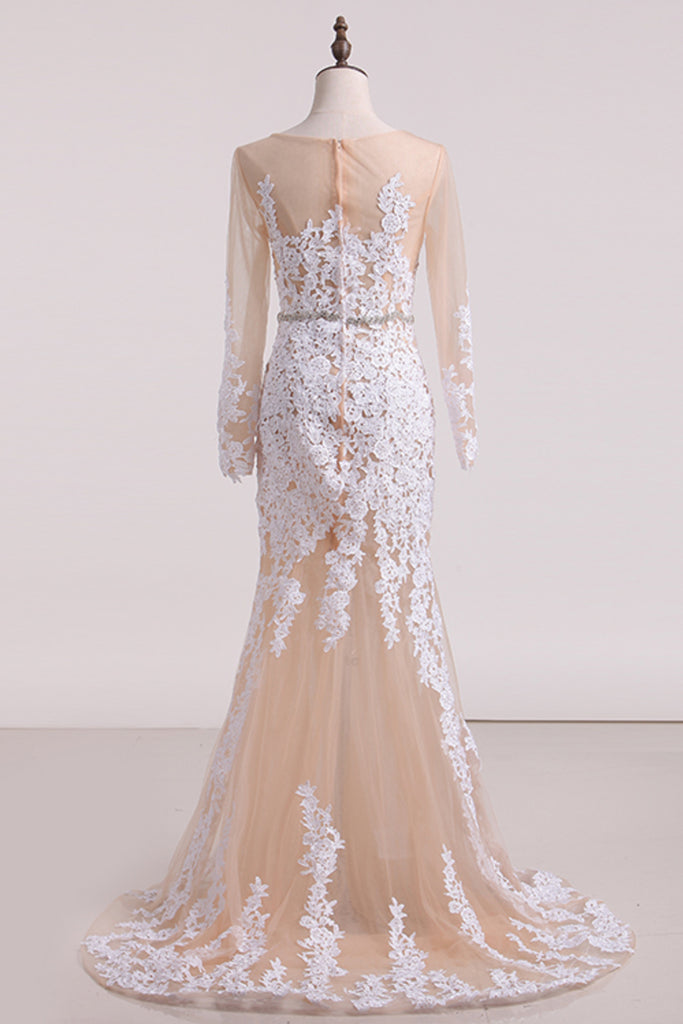 2020 Wedding Dresses Bateau Mermaid/Trumpet Tulle With STKPBLDXH19
