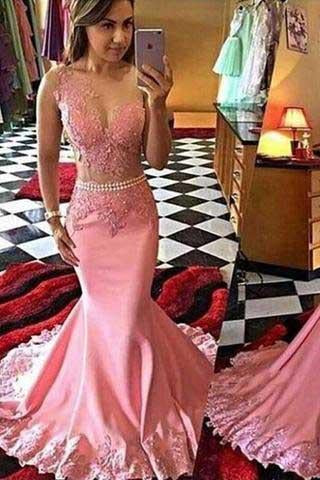 Pink Lace Mermaid Long See Through Sleeveless Beads V-Neck Cheap Party Prom Dress