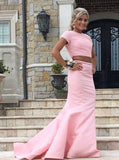 New Arrival 2 Piece Sweep Train Pearl Pink Prom Dress with Pearl Open Back