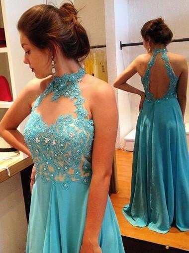Stylish Halter Floor-Length Open Back Prom Dress with Beading Lace Top Prom Dresses