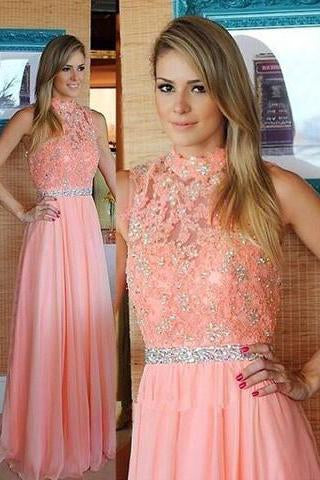 Nectarean High Neck Floor-Length Sleeveless Peach Prom Dress with Beading Lace Top