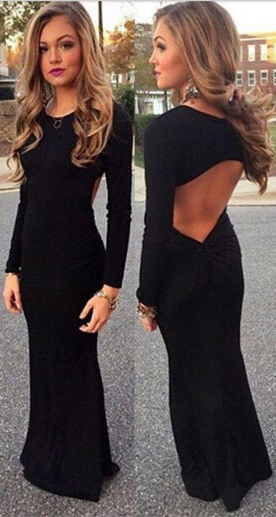 New Style Black Elegant Mermaid Simple Scoop Prom Dresses with Long Sleeves For Teens