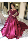 Prom Dress With Long Sleeves And Floral Embroidery Burgundy Colored Court STKPJ8SLMB9