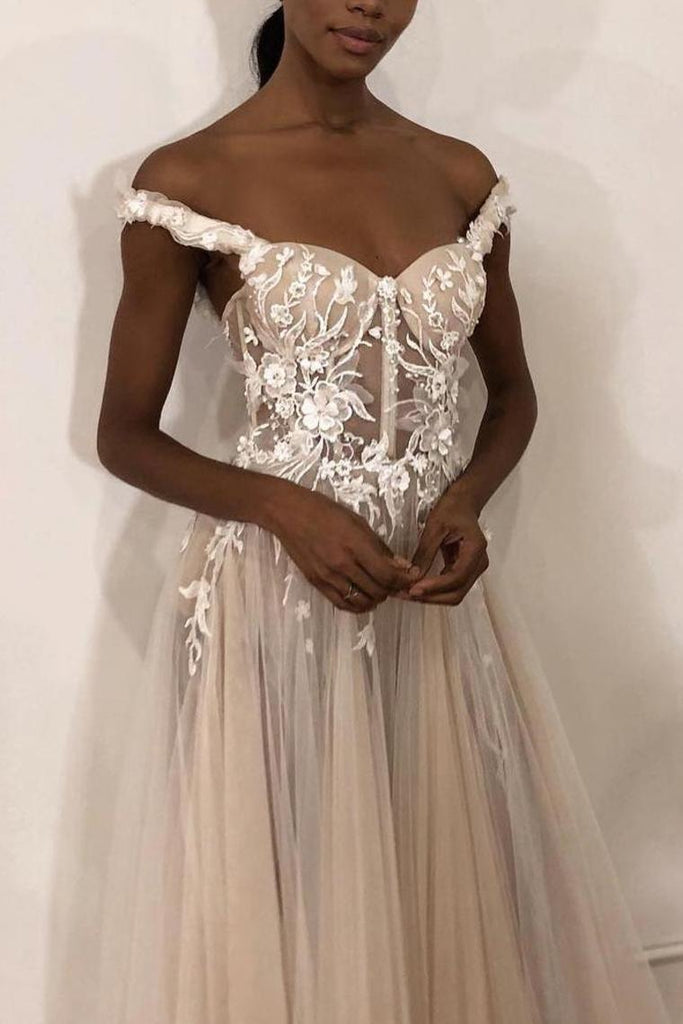 Unique Off The Shoulder Ivory Long Wedding Dress With Appliques Sweetheart Wedding STKPMJM4785