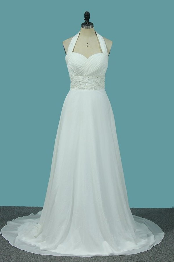 2020 A Line Chiffon Wedding Dresses With Beading & Sequince Court PPXQXDDY
