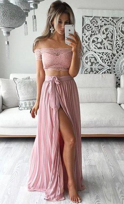 Two Piece Lace Top Off the Shoulder Short Sleeves Thigh-High Slit Sexy Evening Dresses