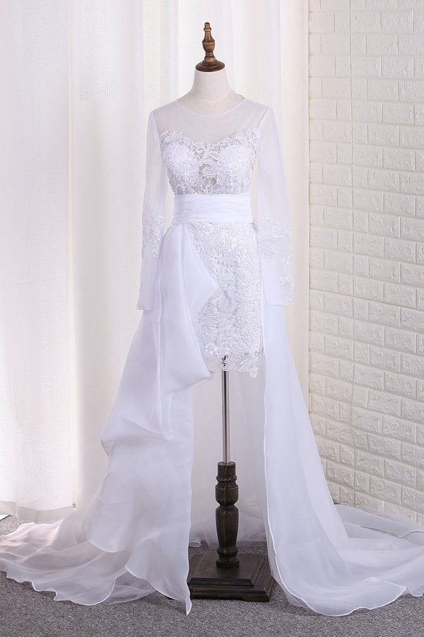 2020 Scoop Long Sleeves Wedding Dresses Tulle & Organza With Applique PGNQDBY7