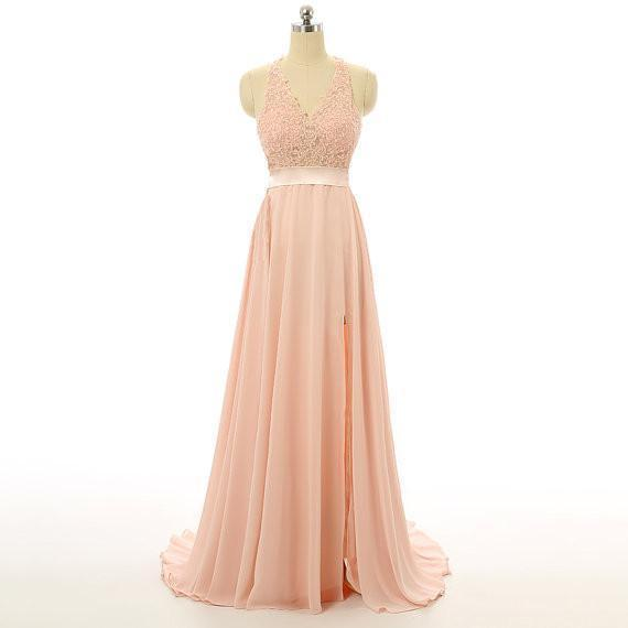 Peach Lace Backless Sexy Cheap V-Neck Halter Sleeveless A-Line Open Back Prom Dresses
