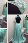 Long Blue Backless Chiffon Beading Open Back V-Neck Sleeveless Prom Dresses