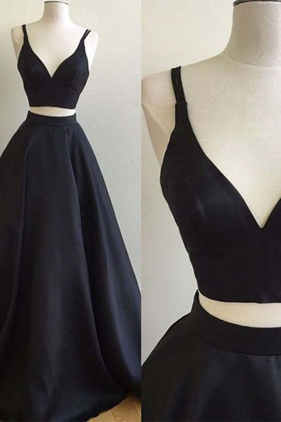 Simple black satins V-neck two pieces A-line long dresses prom