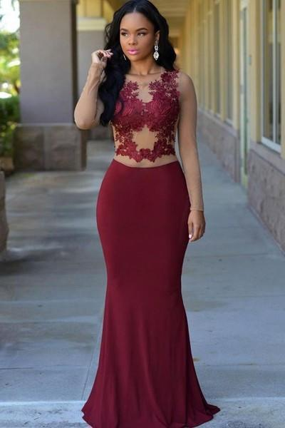 Wine chiffon mesh long sleeves lace applique slim long prom