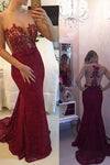 New Arrival Lace Prom Dresses Mermaid Prom Dresses Wine Red Prom Dresses