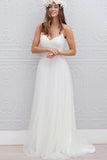 V-Neck Long Tulle A-line White Spaghetti Straps Backless With Bodice Wedding Dresses