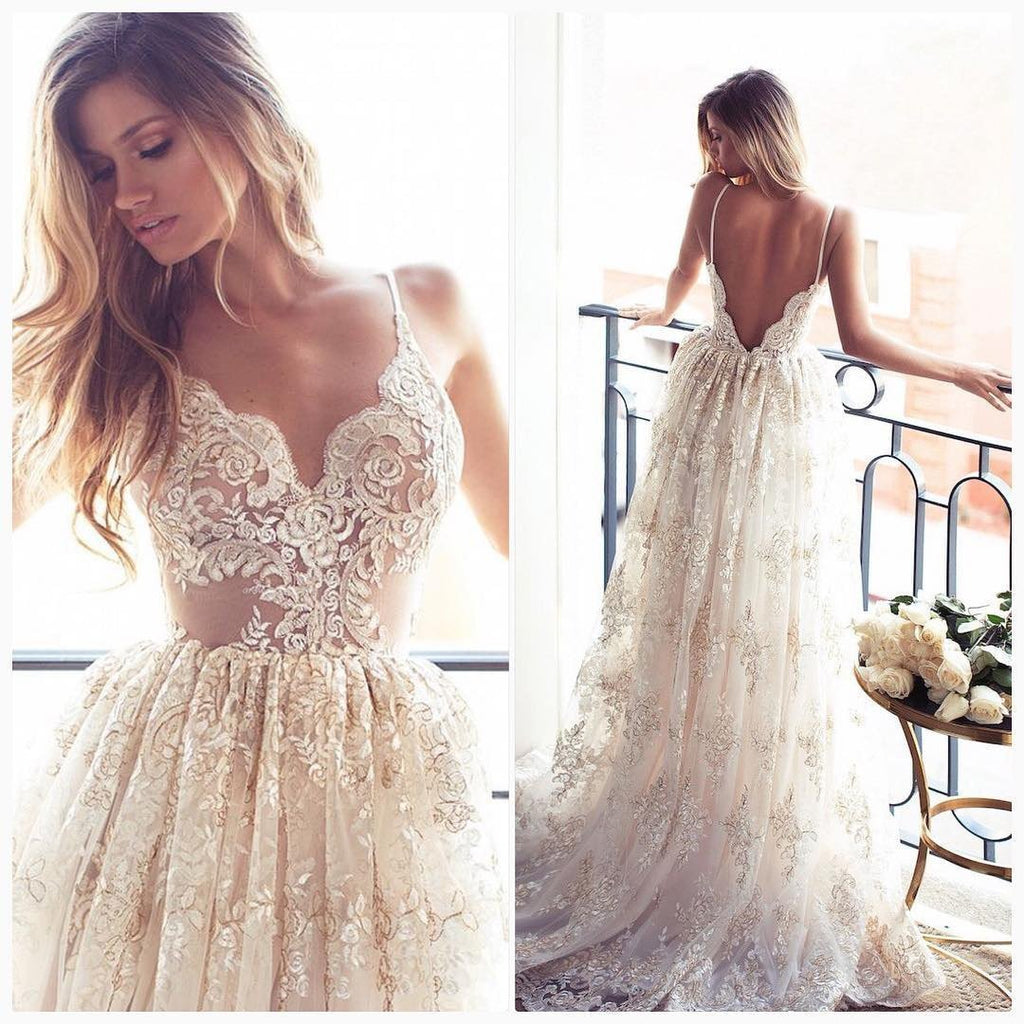 Lace A Line Sexy Spaghetti Straps Backless Beach Vintage Illusion Wedding Dresses