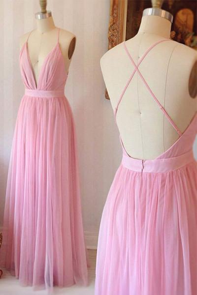 Pink chiffon V-neck cross back long prom dress summer