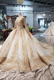Princess Long Sleeve Ball Gown Scoop With Applique Beads Lace up Prom Dresses
