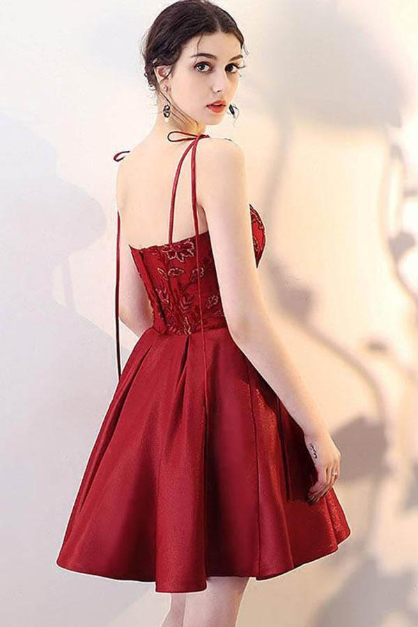 A Line Burgundy V Neck Lace Spaghetti Straps Short Prom Dresses Homecoming Dresses