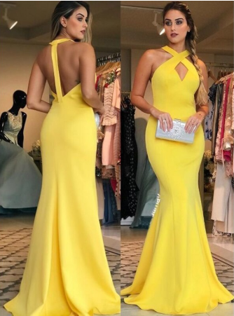 Sexy Sheath Halter Floor Length Ruffles Satin Prom Dresses Yellow Long Formal Dresses