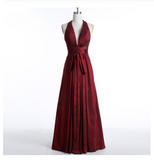 Sexy Burgundy Deep V-Neck Sleeveless Floor-Length Backless Prom Dresses