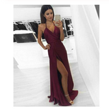 Sexy A-line Halter Burgundy V-Neck Backless Slit Sleeveless Long Evening Prom Dresses