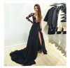 New Style Black Long Sleeves Lace Deep V Neck Thigh-High Slit Sexy Lace Evening Gowns