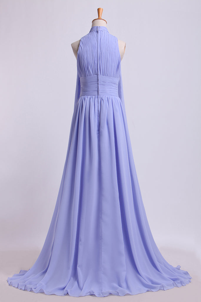 High Neck Prom Dresses Pleated Bodice A-Line Chiffon Sweep STKPQS3MK7G
