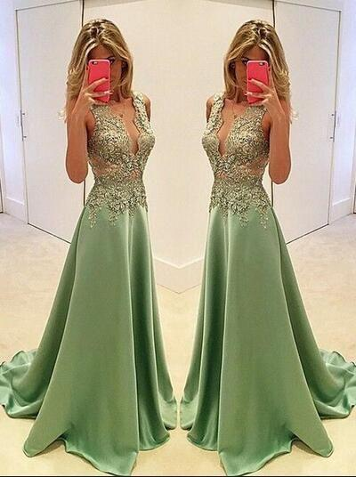 Sexy Appliques Prom Dresses Long Evening Dresses Prom Dresses On Sale