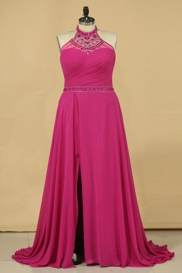 2020 A Line High Neck Prom Dresses Chiffon With Beading And PR6SBMMJ