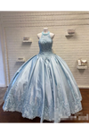 Halter Neckline Rhinestone And Crystal Beaded Quinceañera Dress Satin Ball Gown Prom STKPZQM9EC2