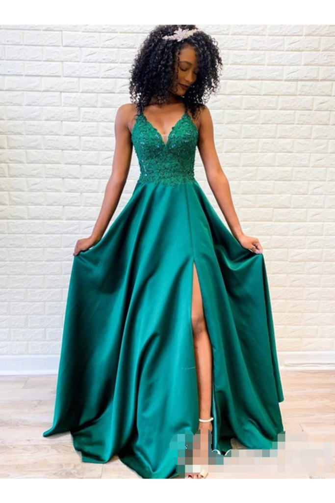 Spaghetti Straps Evening Dress Appliqued Bodice V Neck Long Prom STKPP46R37D