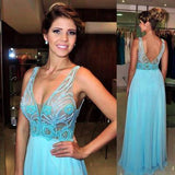 V-Neck Real Made Beading Charming Long Sleeveless A-Line Backless Prom Dresses