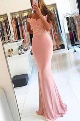 Off-the-Shoulder Mermaid Sexy Blush Pink Sweetheart Appliques Long Prom Dresses